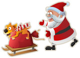 Yellow dog symbol of year 2018. Fun dog holds bag with gifts and goes on sled, Santa catches up - 175219926