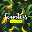 Cotton fabric Bright tropical seamless pattern with jungle plants. Exotic background with palm leaves