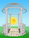 Gazebo with a balustrade and a round dome 3D rendering - 175221501