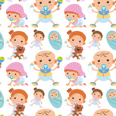 Seamless background with toddler boys and girls