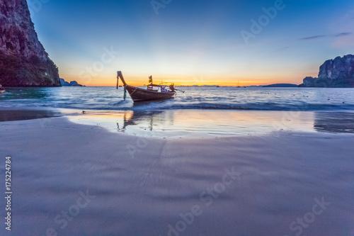 Aluminium Thailand plage de Railay après le coucher du soleil
