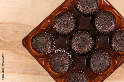 Chocolate muffins in box Poster