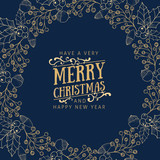 Golden christmas greetings at blue background - 175225960