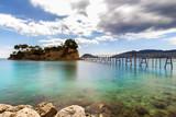 Wooden bridge to Cameo island at Zakynthos, Greece - 175226183