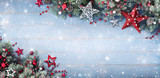 Christmas Background - Fir Branches And Baubles On Snowy Plank - 175227308