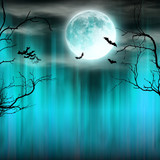 Spooky Halloween background with old trees silhouettes. - 175227967
