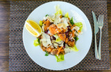 Fresh seafood salad with smoked salmon - 175228511