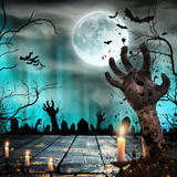 Scary Halloween background with zombie hands. - 175229302