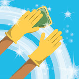 Sponge and hand of cleaning service home work and hygiene theme Vector illustration - 175229309