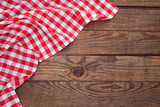 Old vintage wooden table with a red checkered tablecloth. Top view mockup. - 175229317