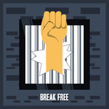 Hand and jail of freedom lifestyle and raised theme Vector illustration - 175229903