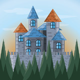 Castle and pine trees of palace medieval and fairytale theme Vector illustration - 175230526
