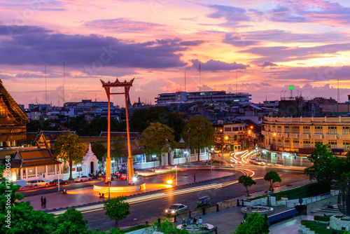 Staande foto Bangkok Giant swing landmark of bangkok city in sunset time / Sao Ching Cha landmark in Bangkok city