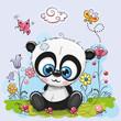 Cute Cartoon Panda with flowers and butterflies