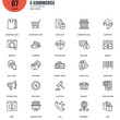 Simple Set of E-commerce Related Vector Line Icons. Contains such Icons as Shop, Delivery, Shopping bag, Sale, Wallet, Online Support, Price Tag and more. Editable Stroke. 48x48 Pixel Perfect.