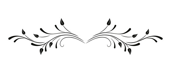 Floral vector ornament. Flower and leaves. Black pattern on a white background.