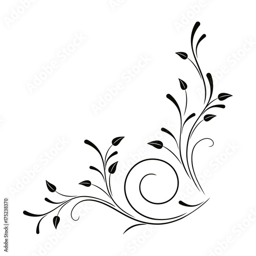 Floral vector ornament. Flower and leaves. Angular black pattern on a white background.