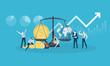 Global investment. Flat design business people concept. Vector illustration for web banner, business presentation, advertising material. - 175239309