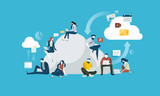 Cloud computing. Flat design people and technology concept. Vector illustration for web banner, business presentation, advertising material. - 175239350