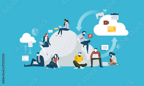 Deurstickers Wanddecoratie met eigen foto Cloud computing. Flat design people and technology concept. Vector illustration for web banner, business presentation, advertising material.