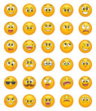 Emoticon set with different funny emotions. Vector character set - 175239522