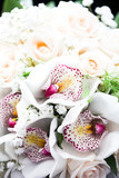 Bouquet of white orchids and roses - 175239748
