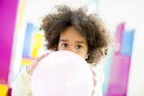 African american little girl with a balloon - 175240116