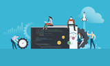 Coding. Flat design people and technology concept for website and app development. Vector illustration for web banner, business presentation, advertising material. - 175241102