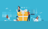 Online shopping. Flat design people and technology concept. Vector illustration for web banner, business presentation, advertising material. - 175241124