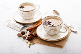 Masala tea in cup with winter spices - 175243936