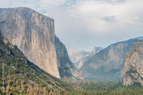 amazing view of yosemite valley with el capitan mountain at background Poster
