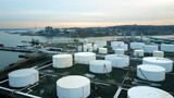 Aerial view of storage tanks at oil refinery 4K - 175249925