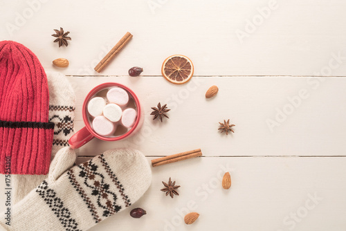 Fotobehang Chocolade Still life concept with Hot chocolate in a mug
