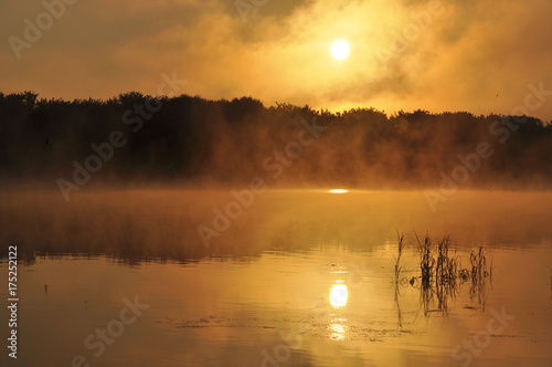 Beautiful dawn on the river. Landscape, nature, decline, beauty Poster