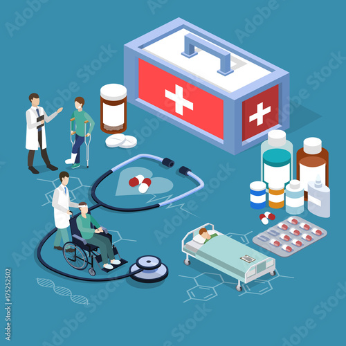Isometric 3D vector illustration doctors take care of their patients.