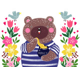 Cute baby illustration with a teddy bear. Illustration to the tale. Teddy bear with honey and garden flowers with birds. - 175252746