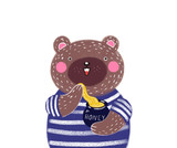 Cute baby illustration with a teddy bear. Illustration to the tale. Teddy bear with honey. - 175252765