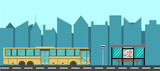 City Bus and Bus Stop Flat Style - 175254102