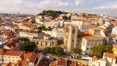 Poster Lisbon Cathedral at sunny day and historical part of Lisbon , Portugal Aerial view