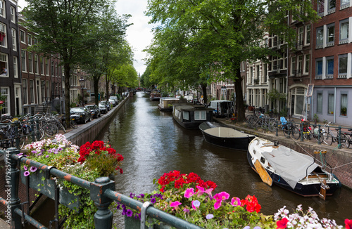 Amsterdam Canal with Flowers Poster