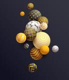 Golden decorative balls on black background. Abstract vector illustration.