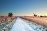 cycling road in Dutch countryside during winter - 175263320