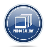 Photo gallery blue round web icon. Circle isolated internet button for webdesign and smartphone applications. - 175263513