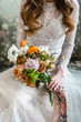 nice bride with flowers - 175264941