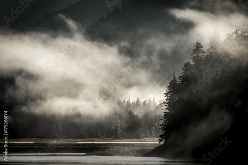 Aluminium Donkergrijs Mountains landscape in Juneau, Alaska with fog