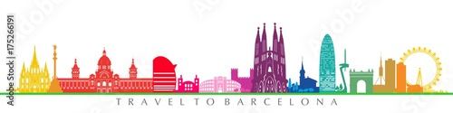 Barcelona city and architecture. Colorful