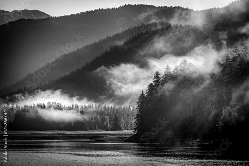 Fotobehang Grijze traf. Mountains landscape in Juneau, Alaska with fog