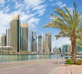 DUBAI, UAE - MARCH 24, 2017: The skyscrapers of Marina and the promenade.