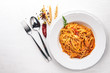 Ala Alio Pasta. On a wooden background. Top view. Free space for text. - 175271937