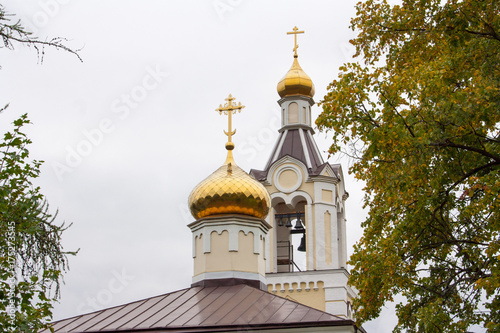 Deurstickers Kiev domes and bell tower of the Orthodox Church